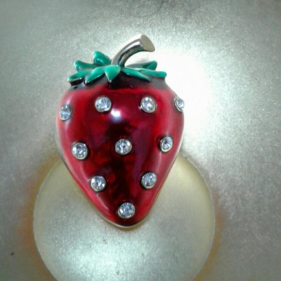 0db025b116c Jewelry | Best Offerenameled Strawberry Rhinestone Pin | Poshmark
